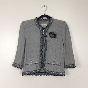 St John Black & White Tweed ZIP Up Blazer